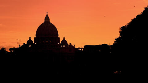 St Peter's Basilica against a purple sunset Footage