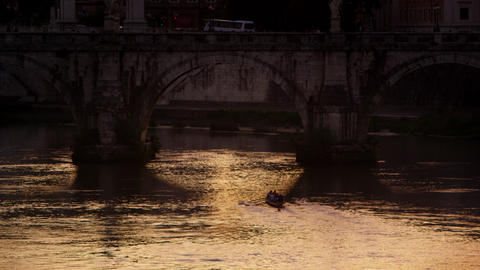 Footage of a bridge on the Tiber Footage