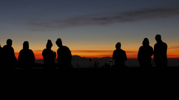 Tourists Watching Sunrise At Bromo Viewpoint,Bromo,Indonesia stock footage