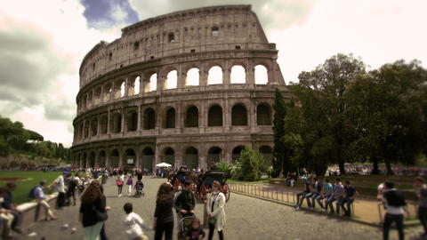 Pedestrians in front of The Colosseum in Rome Italy Footage