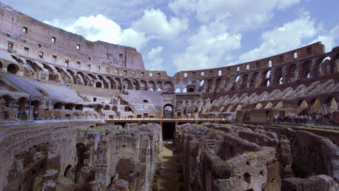 Sky and stadium seats of the Colosseum from the arena Footage