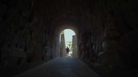 Walking shot through corridor in Roman Colosseum Footage