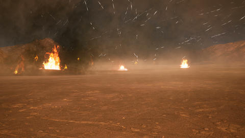 The battlefield in the smoke in the middle of explosions on an uncharted planet. Looped realistic Animation