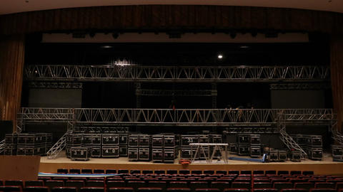 installation of LED screens on the stage GIF