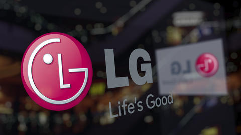 LG Corporation logo on the glass against blurred business center. Editorial 3D Live Action