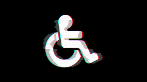 From the Glitch effect arises wheelchair symbol. Then the TV turns off. Alpha channel Premultiplied Animation
