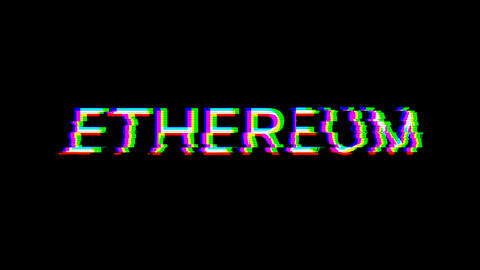 From the Glitch effect arises crypto currency name ETHEREUM. Then the TV turns off. Alpha channel Animation