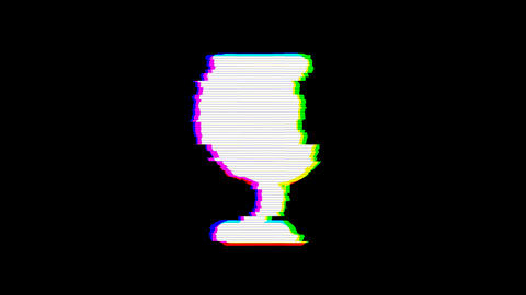 From the Glitch effect arises wine glass symbol. Then the TV turns off. Alpha channel Premultiplied Animation