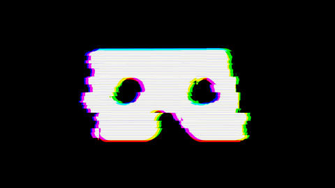 From the Glitch effect arises vr cardboard symbol. Then the TV turns off. Alpha channel Animation