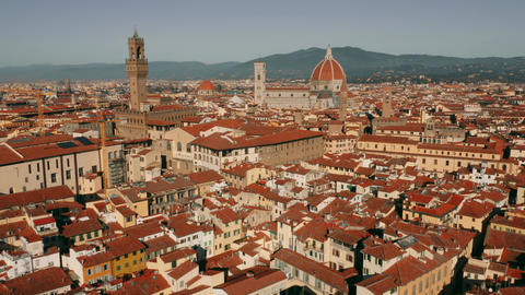 Aerial view of main landmark of Florence, the Cathedral or Cattedrale di Santa Live Action