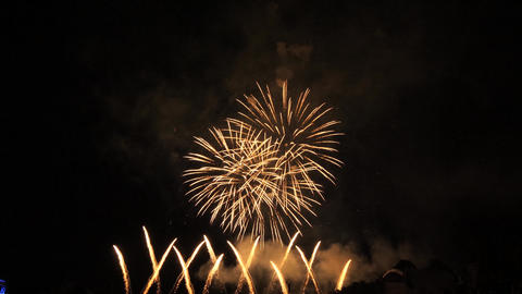 Slow motion red and white fireworks show Footage