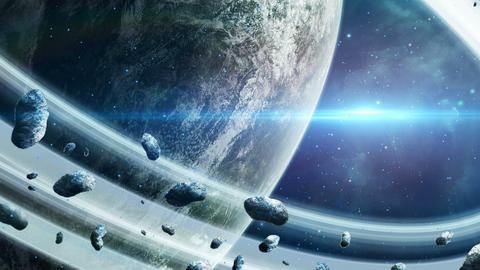 Planet with ring and asteroids with blue light Animation
