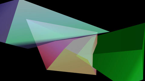 Multicolored polygonal 3d crystal shapes moving on black background Animation