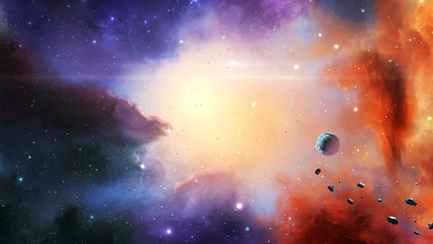 Space scene. Colorful nebula, planet and asteroids. Elements furnished by NASA. 3D rendering Animation
