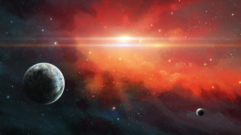Two planet in space with red nebula Animation