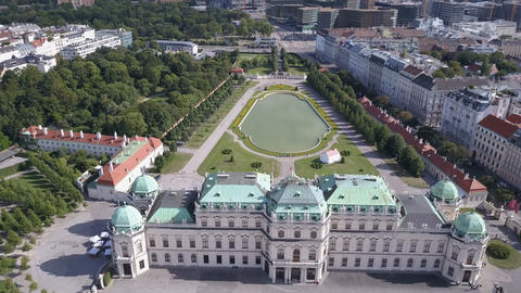 Aerial view of Belvedere palace in Vienna, Austria Footage