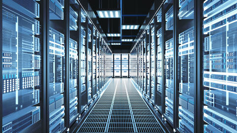 Digitalization of Information Flow Moving Through Rack Servers in Data Center Live Action
