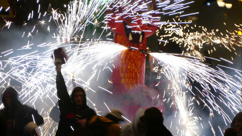 Fire Run (Correfoc) traditional celebration of Catalonia Footage