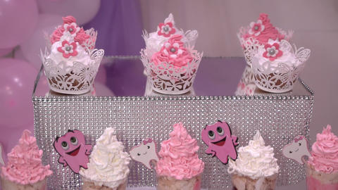 Festive dessert of whipped cream decorated with teeth illustration Footage