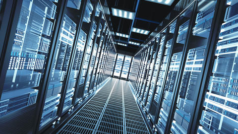 The Concept Of: Digitalization Of Information Flow Moving Through Rack Servers Live Action