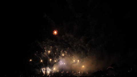 Slow motion blue, pink, red and white fireworks show Footage