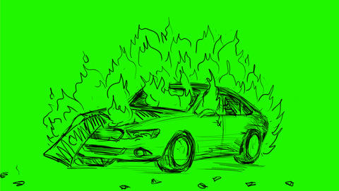 Car Exploding Big Explosion Drawing 2D Animation Animation