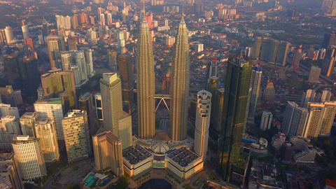 Aerial view of Kuala Lumpur Downtown, Malaysia. Financial district and business centers in smart Live Action
