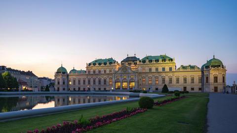 Belvedere Garden Palace in Vienna, Austria at sunset Footage