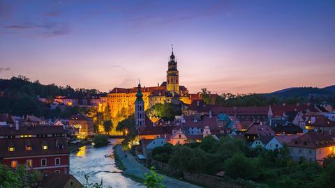 Cesky Krumlov city time lapse at night in Czech Republic Live Action