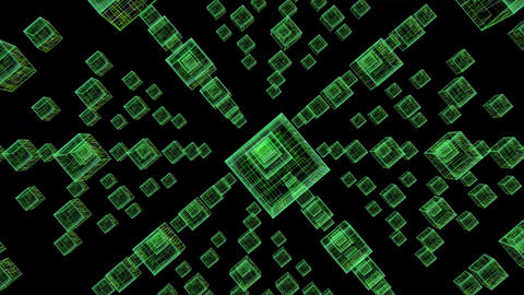 Green Neon Cubes Background Animation
