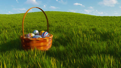 Basket with dyed easter eggs among grass Close-up Animation