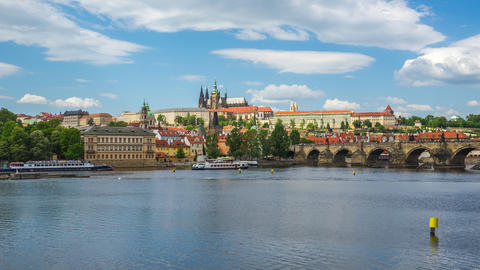 Prague time lapse with view of Vltava River in Prague, Czech Republic time lapse Footage