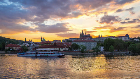 Prague time lapse with view of Vltava River in Prague, Czech Republic day to night time lapse Footage