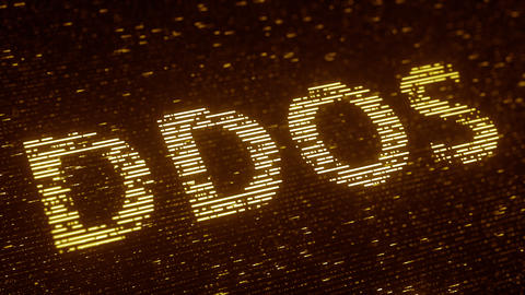 Orange DDOS text made with flying luminescent particles. Information technology Footage