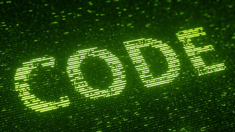 Green CODE word made with flying luminescent particles. Information technology Footage