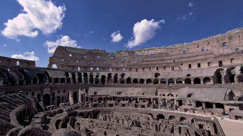 Angled interior shot of Roman Colosseum Footage