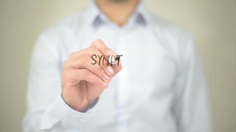 Symptom Checker, Man Writing on Transparent Screen Footage