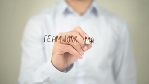 Teamwork Makes the Dream Work, Man Writing on Transparent Screen Footage