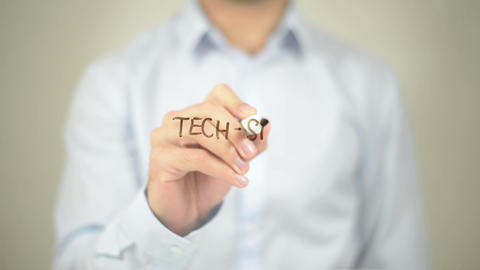Tech Savvy Customer, Man Writing on Transparent Screen Footage