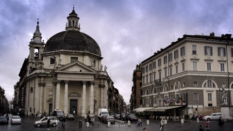 Dome building in Rome with traffic and pedestrians Footage