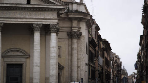 Exterior of buildings and streets in the Piazza del Popolo Footage