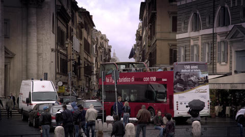 Shot of pedestrians and traffic in the Piazza del Popolo Footage