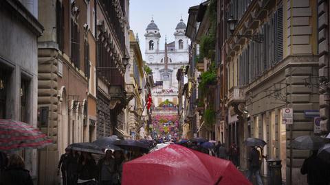 Trinita dei Monti from the street Via Dei Condotti Footage
