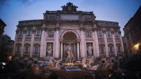 Slow motion footage of the Trevi Fountain at dusk Footage