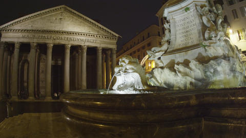 Pan shot of Pantheon and fountain in the Piazza della Rotonda Footage