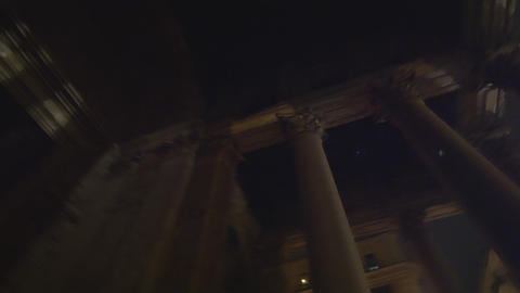 Rotating, low angle footage of Pantheon columns Footage