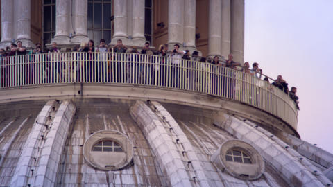 Tourist on St. Peters dome balcony Footage