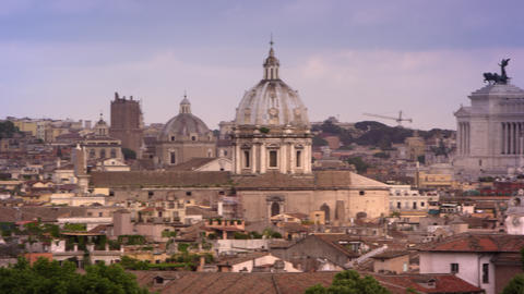 Rome skyline featuring St. Peters basilica, Hotel Piazza Venezia and others land Footage