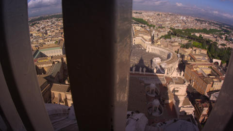 Tracking footage of Rome skyline from behind guardrail Footage