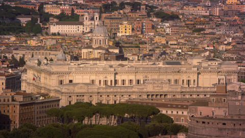 Aerial footage of the Palace of Justice and Castel Sant'Angelo Footage